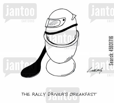 car racing cartoon humor: The rally driver's breakfast