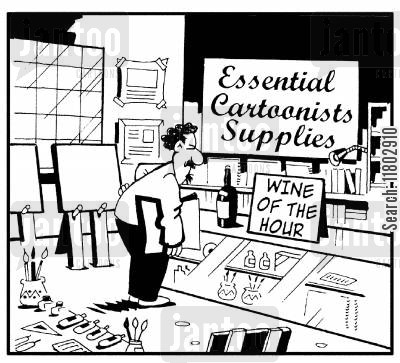 pressured cartoon humor: Essential cartoonists supplies...Wine of the Hour.