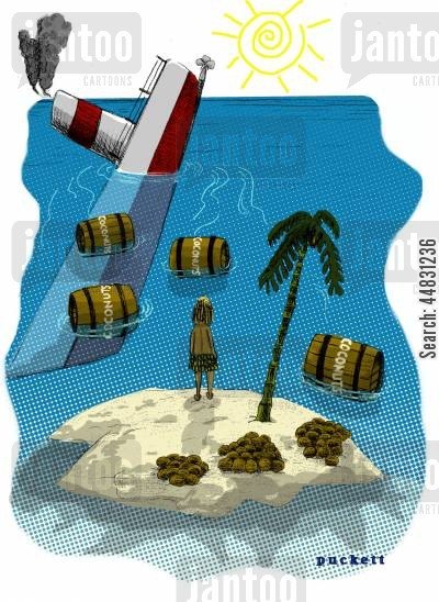 deserted island cartoon humor: A castaway is watching a ship sink and some of the cargo is drifting towards him.The cargo is barrels of coconuts-which he has plenty of as is...