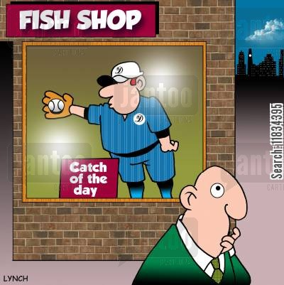 catcher cartoon humor: Fish Shop: Catch of the day
