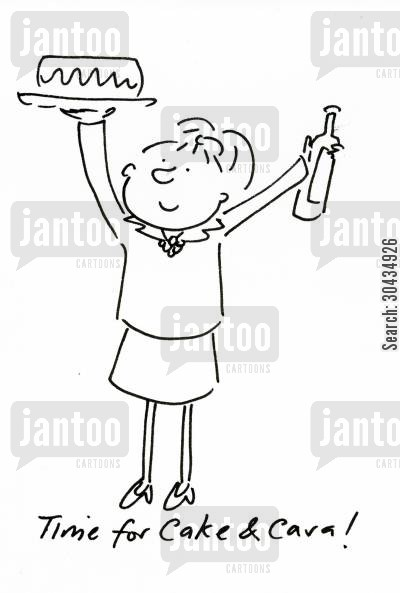 cava cartoon humor: Time for Cake and Cava!
