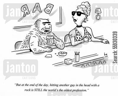 publicans cartoon humor: Caveman and prostitute drinking at bar talking about the world's oldest profession - hitting a guy in the head with a rock.