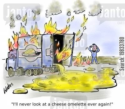 fatal accident cartoon humor: 'I'll never look at a cheese omelette ever again!'
