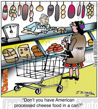 farm shop cartoon humor: 'Don't you have American processed cheese food in a can?'