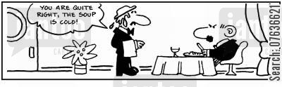 culinary skills cartoon humor: 'You are right, the soup is cold.'