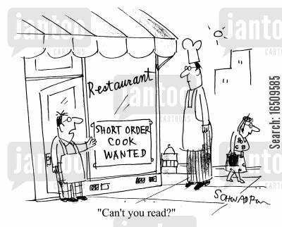 restaurant staff cartoon humor: 'Can't you read?'