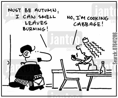 food prep cartoon humor: 'Must be autumn, I can smell leaves burning.' - 'No, I'm cooking cabbage.'