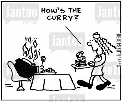 hot foods cartoon humor: 'How's the curry?.'