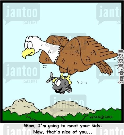 bald egal cartoon humor: 'Wow, I'm going to meet your kids: Now, that's nice of you...'