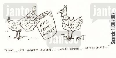 cousins cartoon humor: 'Look...it's Aunty Alison...Uncle Steve...Cousin Alfie...'