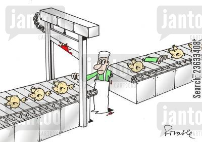 guillotine cartoon humor: Accident in the Chicken Factory