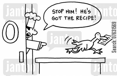kitches cartoon humor: Stop him! He's got the recipe! (Bird running out of the kitchen).