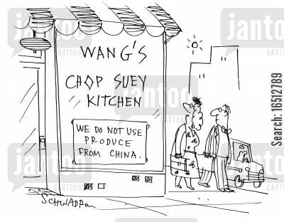 chinese cuisine cartoon humor: Wang's Chop Suey Kitchen - We Do Not Use Produce from China.