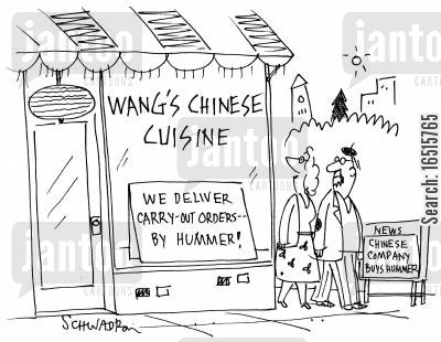 hummer cartoon humor: 'Wang's Chinese Cuisine - We deliver carry-out orders by hummer!'