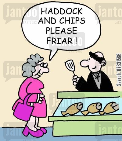 friars cartoon humor: Haddock and chips please friar! (monk serving in fish bar).