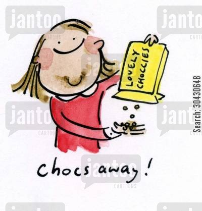 eating chocolates cartoon humor: Chocs away.