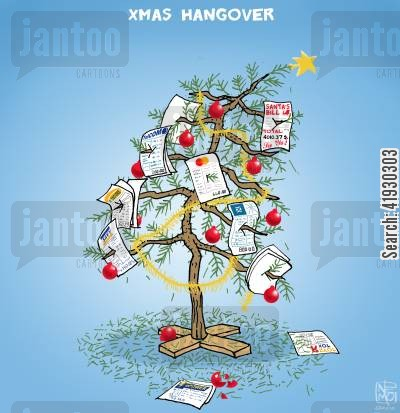 expenses cartoon humor: Xmas Hangover...