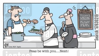 cafeteria cartoon humor: 'Peas be with you...Next!'