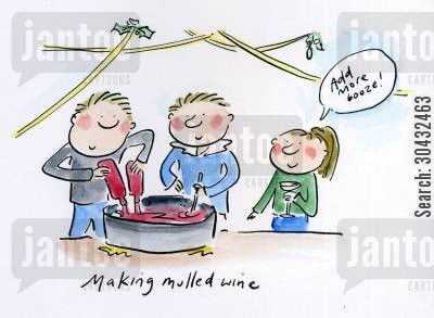 mulled wines cartoon humor: Making mulled wine.