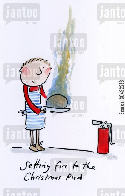 christmas puddings cartoon humor: Setting fire to the Christmas Pud.