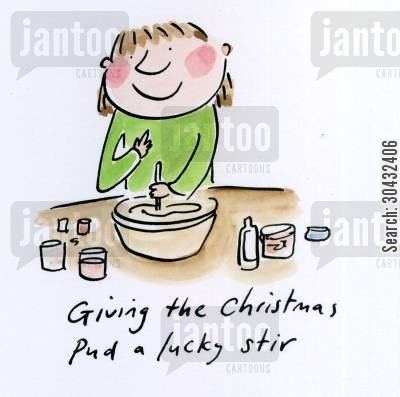 figgy puddings cartoon humor: Giving the pud a lucky stir.
