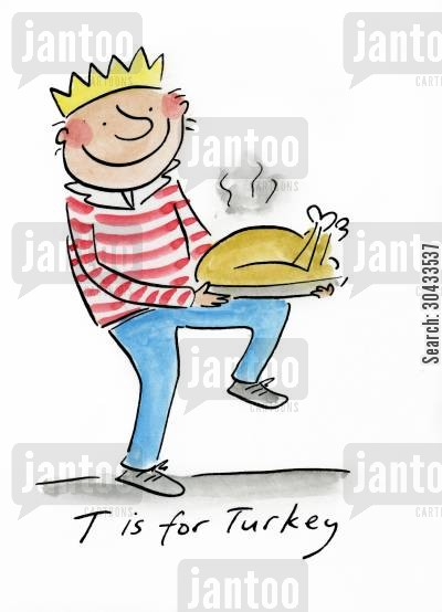 christmas meal cartoon humor: T is for Turkey