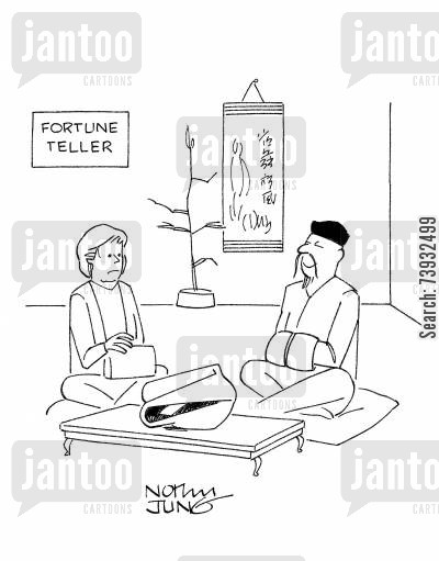 oriental cartoon humor: Oriental fortune teller has a fortune cookie in place of a crystal ball