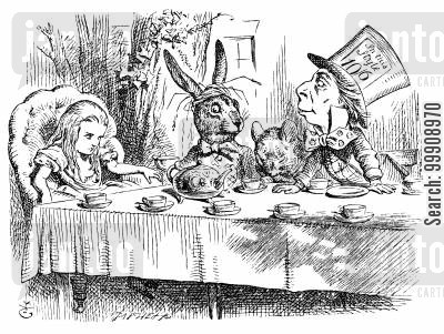 mad tea party cartoon humor: Alice in Wonderland - A Mad Tea Party.