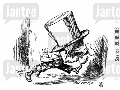 alice in wonderland cartoon humor: Alice in Wonderland: The Mad Hatter Leaves the Court Room.