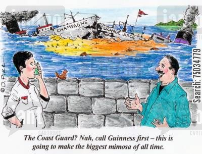 orange juice cartoon humor: 'The Coast Guard? Nah, call Guinness first - this is going to make the biggest mimosa of all time.'
