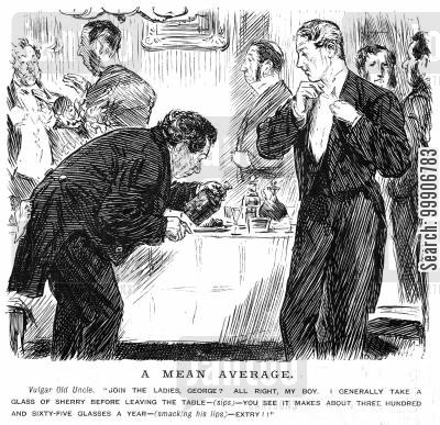 cocktail party cartoon humor: A man pouring sherry at a table