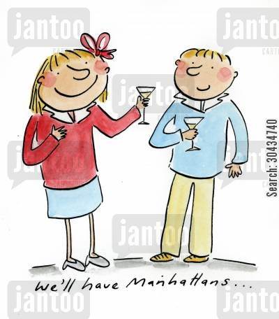 shaker cartoon humor: We'll have Manhattans...