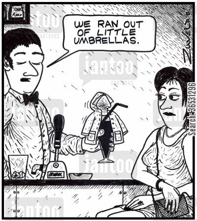 raincoats cartoon humor: We ran out of little umbrellas.