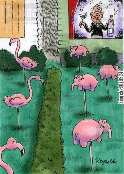 pink elephants cartoon humor: Drunk Woman Sees Pink Elephants in her Garden.