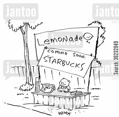 lemonade stores cartoon humor: Lemonade Stand Becoming Starbucks