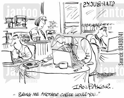 free refill cartoon humor: 'Bring me another coffee would you...'