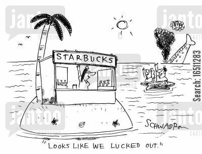 civilization cartoon humor: 'Looks like we lucked out.'