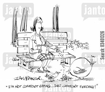 comfort foods cartoon humor: 'I'm not comfort eating . . . she's comfort feeding.'