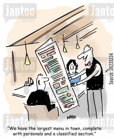 classifieds cartoon humor: We have the largest menu in town, complete with a personals and classified section.