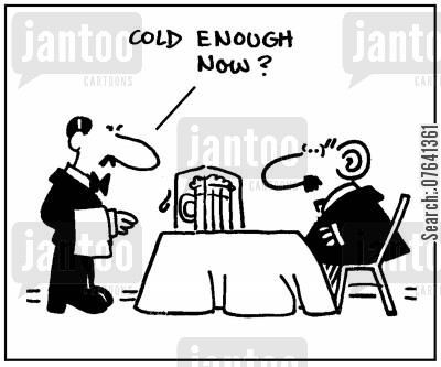 ice cube cartoon humor: 'Cold enough now?'
