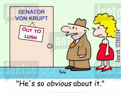 liquid lunches cartoon humor: 'He's so obvious about it.'