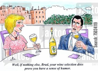 sense of humour cartoon humor: 'Well, if nothing else, Brad, your wine selection does prove you have a sense of humor.'