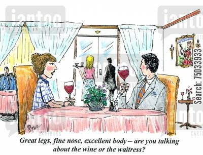 evaluation cartoon humor: 'Great legs, fine nose, excellent body - are you talking about the wine or the waitress?'