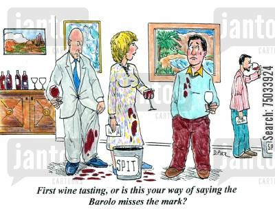 stain cartoon humor: 'First wine tasting, or is this your way of saying the Barolo misses the mark?'