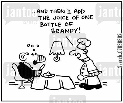 cooking wine cartoon humor: 'Then I add the juice of one bottle of brandy.'