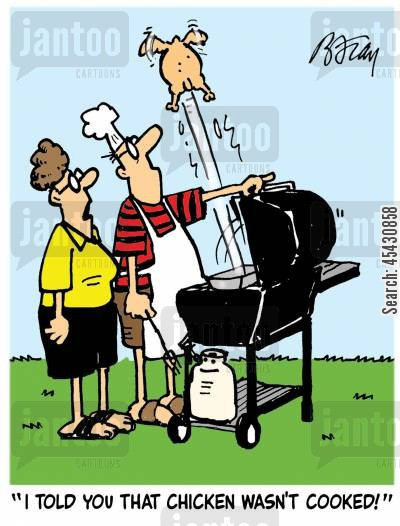 summer times cartoon humor: 'I told you that chicken wasn't cooked!'