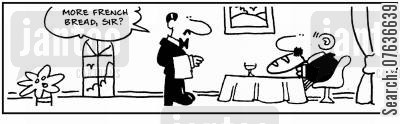 french stick cartoon humor:  'More French bread, sir?.'