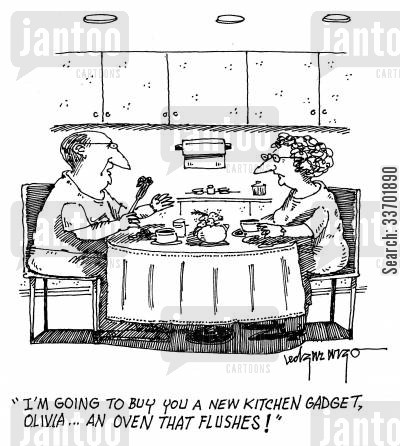 cooking equipment cartoon humor: 'I'm going to buy you a news kitchen gadget, Olivia...an oven that flushes!'