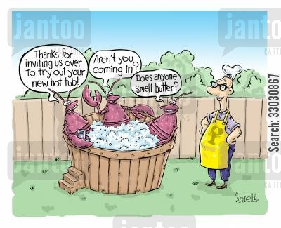 hot tub cartoon humor: Lobster hot tub.