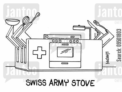 stoves cartoon humor: Swiss Army Stove.
